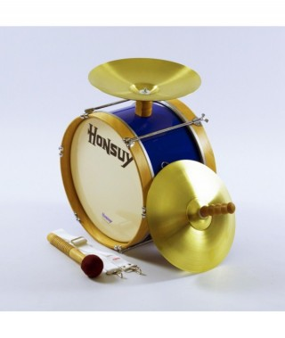 """MARCHING BASS DRUM OF 35,5x25cm. WITH CYMBALS OF 12"""", MALLET & SLING"""